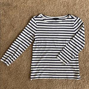 J. Crew | Striped Boatneck 3/4 Sleeve Top